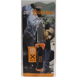 "NEW GERBER 4"" BEAR GRYLLS SURVIVAL KNIFE W/"