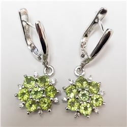 SILVER RHODIUM PLATED PERIDOT(2CT)  EARRINGS