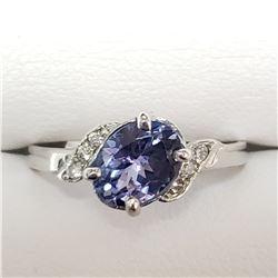 10K WHITE GOLD TANZANITE(0.95CT) DIAMOND
