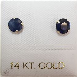 14K YELLOW GOLD SAPPHIRE(0.72CT)  EARRINGS