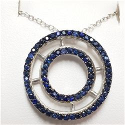 SILVER RHODIUM PLATED SAPPHIRE(1.5CT)  NECKLACE