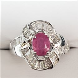 SILVER RUBY  RING (~WEIGHT 6.3G)