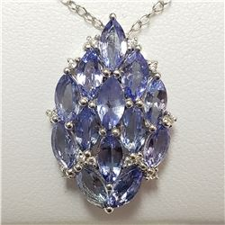 SILVER TANZANITE(3CT)  NECKLACE (~WEIGHT 3.6G)