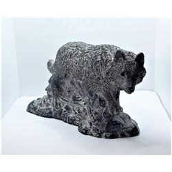 18)  SOAPSTONE SCULPTURE OF A WOLF