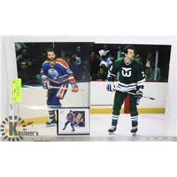 DAVE SEMENKO PHOTO LOT X 2 & CARD WHALERS / OILERS