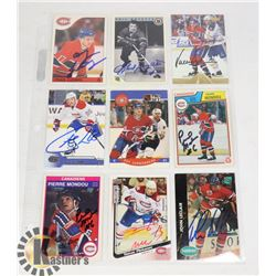 AUTOGRAPHED MONTREAL CANADIENS 9 CARD LOT