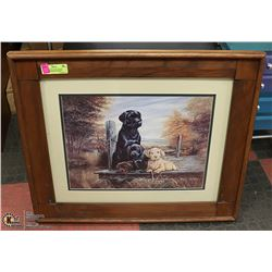 "SHOWHOME PICTURE WOPOD FRAMED ""PUPPIES ON DECK"""