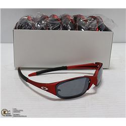 BOX OF RED OAKLEY STYLED SUNGLASSES