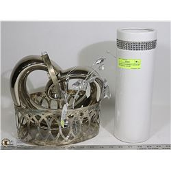 SILVER PLATED BASKET LARGE HEART AND CRYSTAL VASE