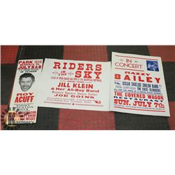 3 POSTERS - 1949 RAY ACUFF, RAZZY BAILEY IN