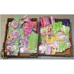 TWO FLATS OF KIDS PARTY SUPPLIES