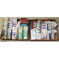 TWO FLATS OF OFFICE SUPPLIES, FILE BANDS, INDEX