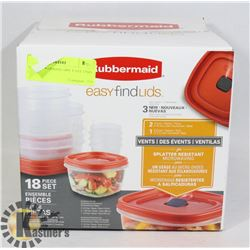 NEW RUBBERMAID 18PC EASY FIND LID SET