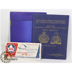 1973 NWT PROGRAM FOR RCMP & 1961 AIRLINES TICKET