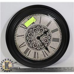 BLACK WALL CLOCK W/DECORATIVE BROWN &