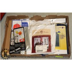 BOX W/NEW ITEMS INCL. 2 HOME STORAGE &
