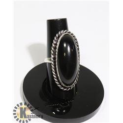 #89-BLACK OBSIDIAN RING SIZE 6.5