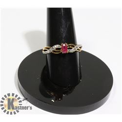 #194-RED RUBY + CZ RING SIZE 7.6