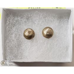 BRUSHED SILVER 1/2 BALL EARRINGS