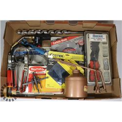 FLAT OF ASSORTED TOOLS INCLUDING HAND RIVETER
