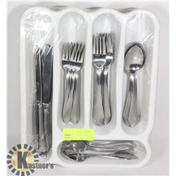 STERILITE FLATWARE CONTAINER WITH 40-PC