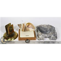BOX W/ MARBLE ASHTRAY, BRASS MATCHBOX HOLDER