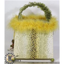 YELLOW MULTI-COLORED CLOTH TABLE LAMP