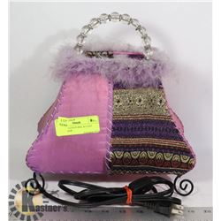 PURPLE CLOTH PURSE ACCENT TABLE LAMP