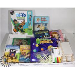 KIDS BOOKS,YO-YO BOX SET MINI WHITEBOARDS,PENS,ETC