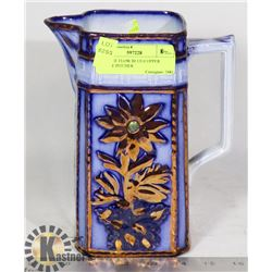 ANTIQUE FLOW BLUE/COPPER LUSTER PITCHER