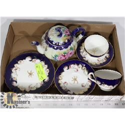 ANTIQUE COBALT BLUE TEAPOT/2 C&S/ 2 SANDWICH