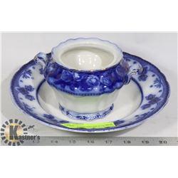 FLOW BLUE SERVING DISH & SUGAR BOWL