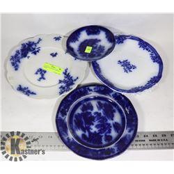 4 ANTIQUE FLOW BLUE SERVING DISHES