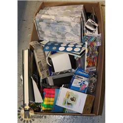 BOX OF SCHOOL/ OFFICE SUPPLIES