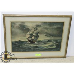 FRAMED ART - SHIP AT SEA. SIGNED DOUGLAM GRAHAM.