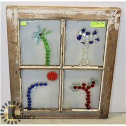 ANTIQUE WINDOW W/ GLASS DESIGNS