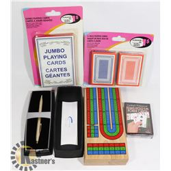 BAG OF ASSORTED PLAYING CARDS, CRIB BOARD &