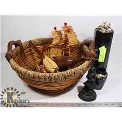 ROUND BASKET FULL OF ASSORTED ASIAN THEMED