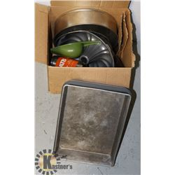 BOX OF ASSORTED CAKE PANS