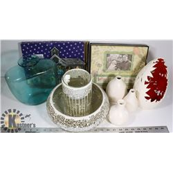 FLAT OF VASES, A CANDLE HOLDER, PICTURE