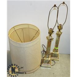 PAIR OF LARGE MARBLE BASED LAMPS
