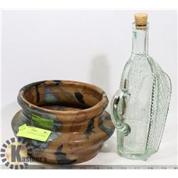WINE DECANTER AND CLAY BOWL