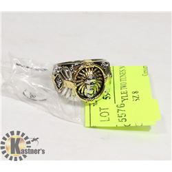 TWO TUNES MANS FACE RING SZ 8