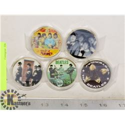 5 BEATLES COINS WITH PLASTIC CASES