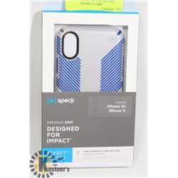 NEW SPECK X / XS IPHONE CASE -GREY WITH BLUE GRIP