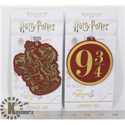 TWO NEW HARRY POTTER LUGGAGE TAGS