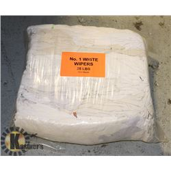 25LB BAG OF WHITE WIPERS (RAGS)