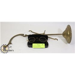 ANTIQUE GOLD RIMMED SPECTACLES AND SCALE