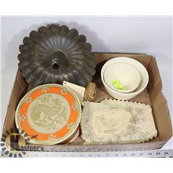 ANTIQUE ITEMS- CHOCOLATE BOX/ BOWLS/ FRAME