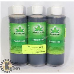 THREE BOTTLES OF ALL NATURAL FACIAL SOAP